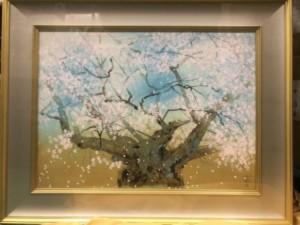 中島千波 木版画 淡墨桜